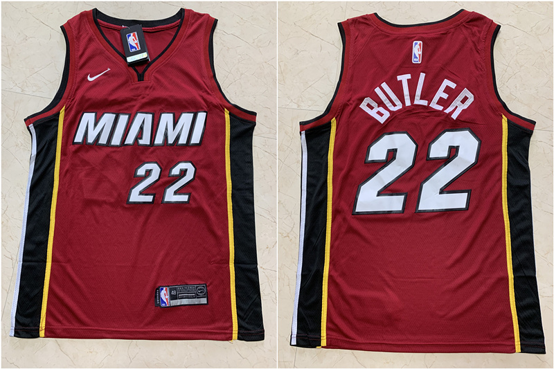 Heat 22 Jimmy Butler Red Nike Swingman Jersey