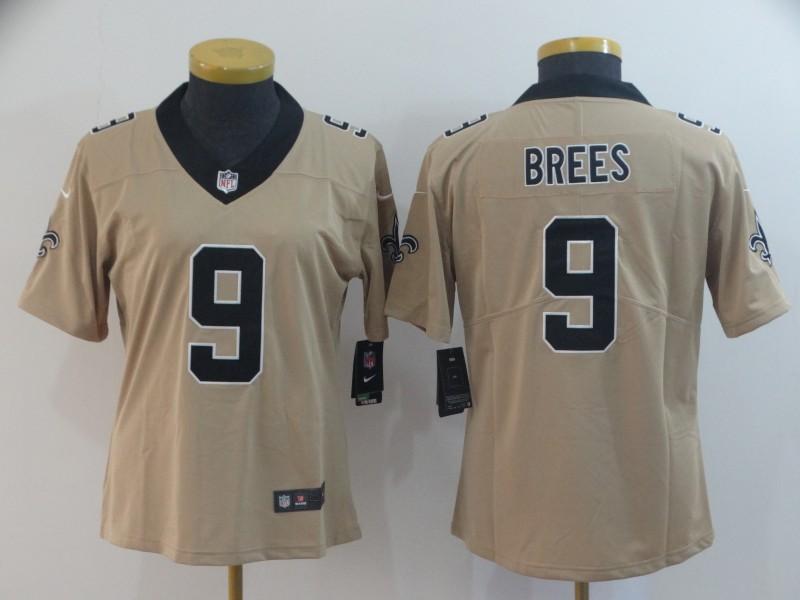 Nike Saints 9 Drew Brees Cream Women Inverted Legend Limited Jersey