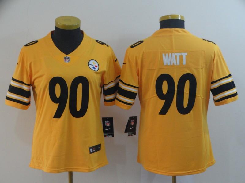 Nike Steelers 90 T.J. Watt Gold Women Inverted Legend Limited Jersey