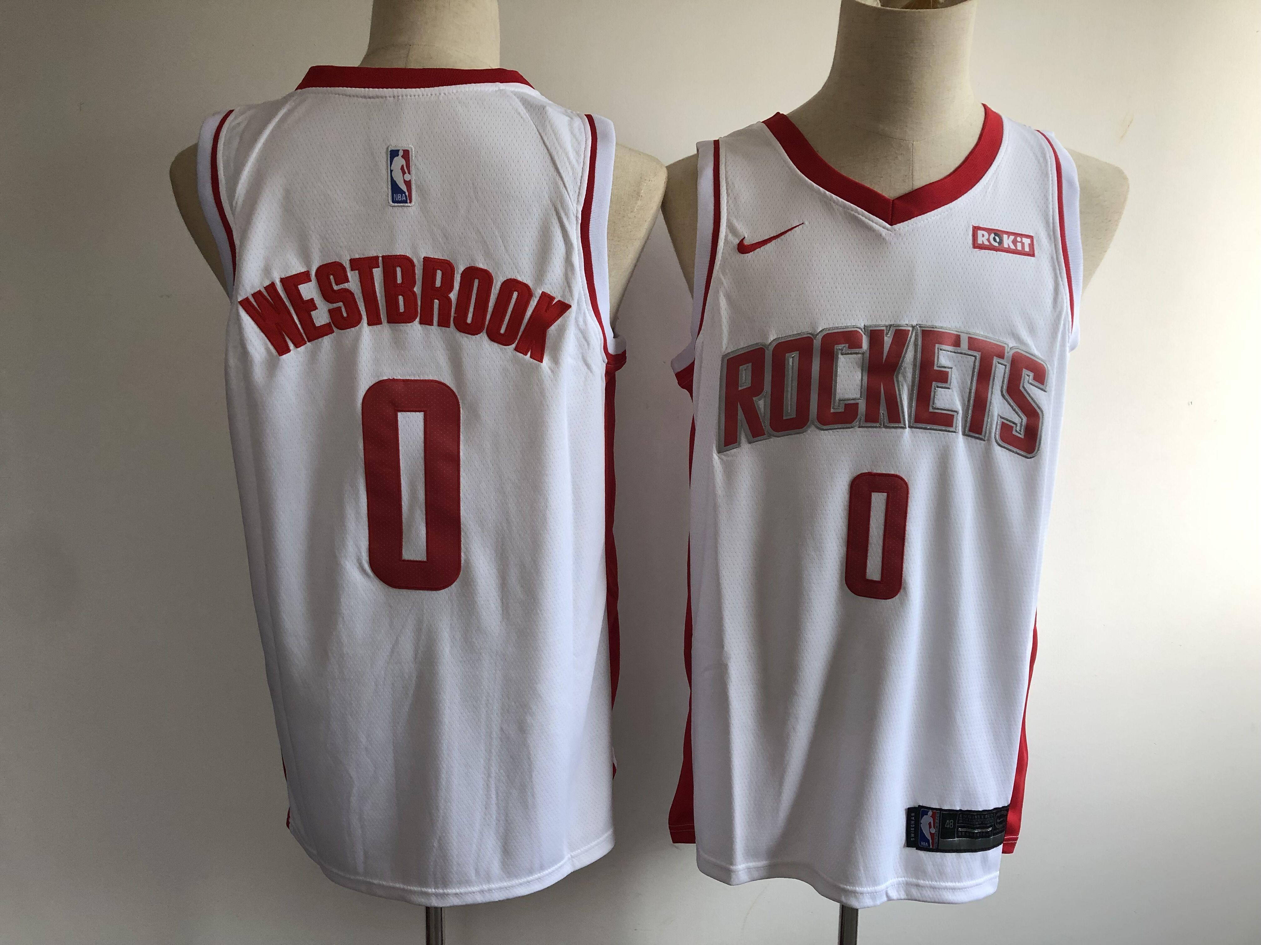 Rockets 0 Russell Westbrook White Nike Swingman With Sponsor Jersey