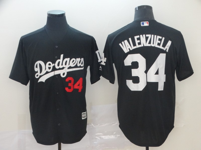 Dodgers 34 Fernando Valenzuela Black Turn Back The Clock Cool Base Jersey