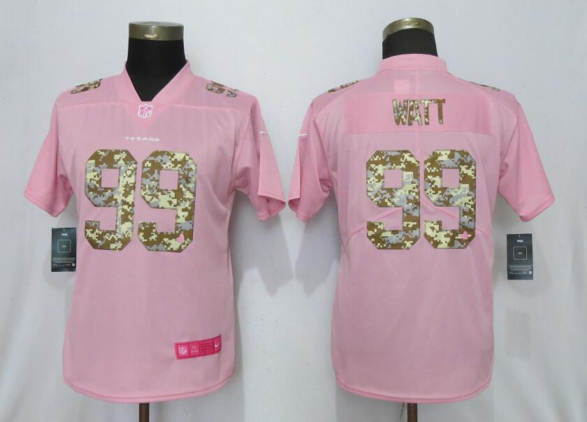 Nike Texans 99 J.J. Watt Pink Camo Fashion Women Limited Jersey