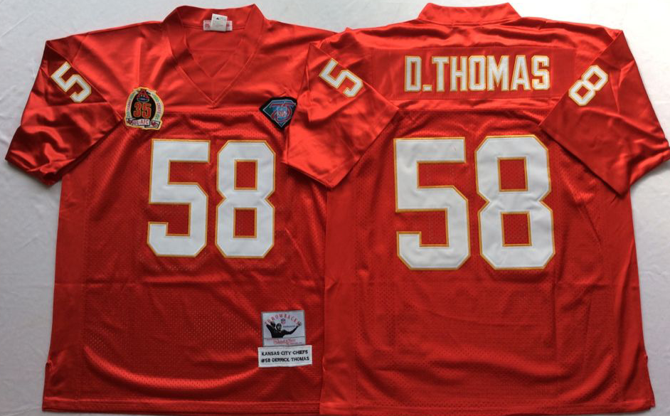 Chiefs 58 Derrick Thomas Red M&N Throwback Jersey