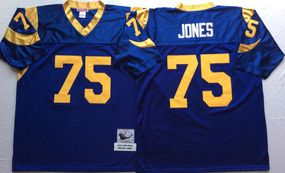 Rams 75 Deacon Jones Blue M&N Throwback Jersey