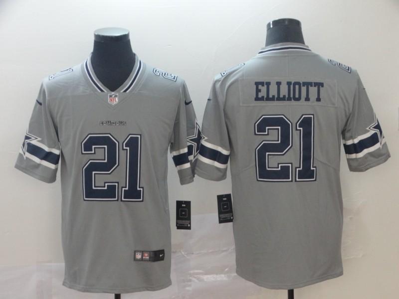 Nike Cowboys 21 Ezekiel Elliott Gray Inverted Legend Limited Jersey