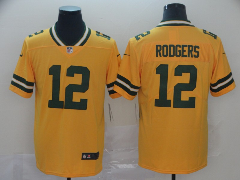 Nike Packers 12 Aaron Rodgers Gold Inverted Legend Limited Jersey