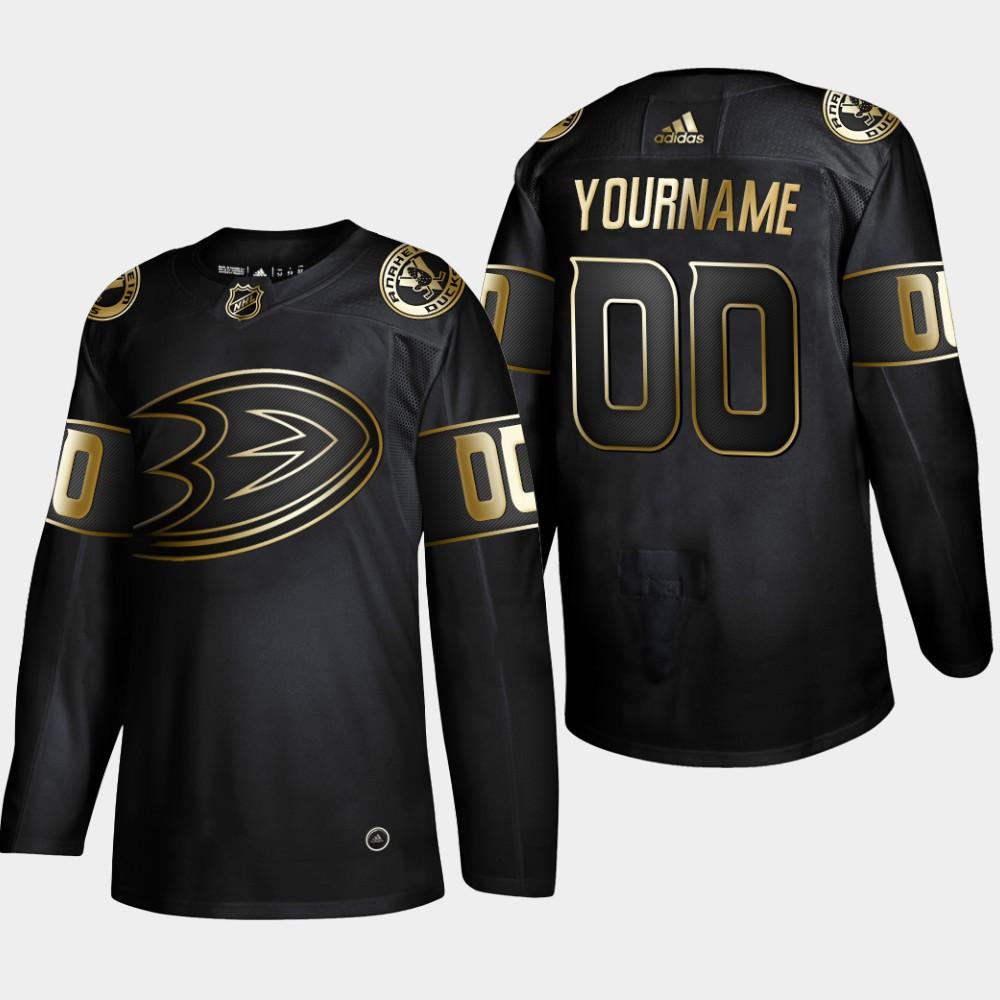 Ducks Customized Black Gold Adidas Jersey