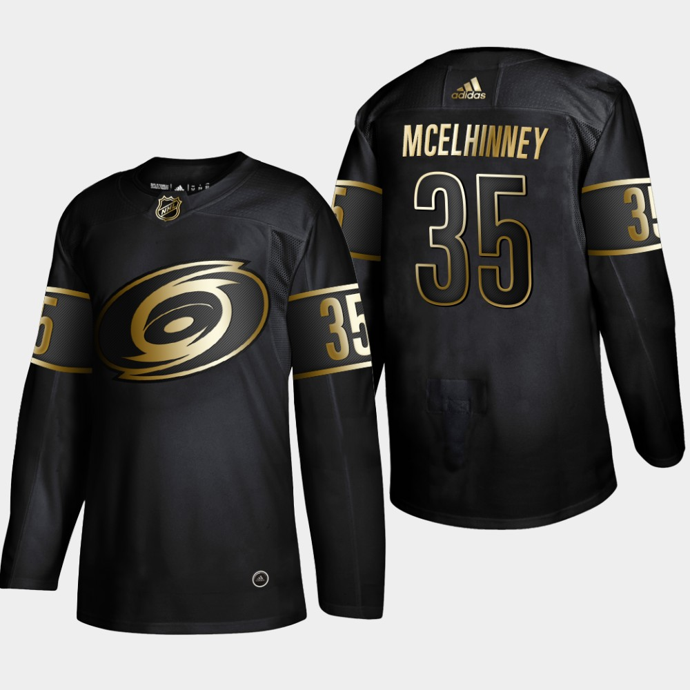 Hurricanes 35 Curtis Mcelhinney Black Gold Adidas Jersey