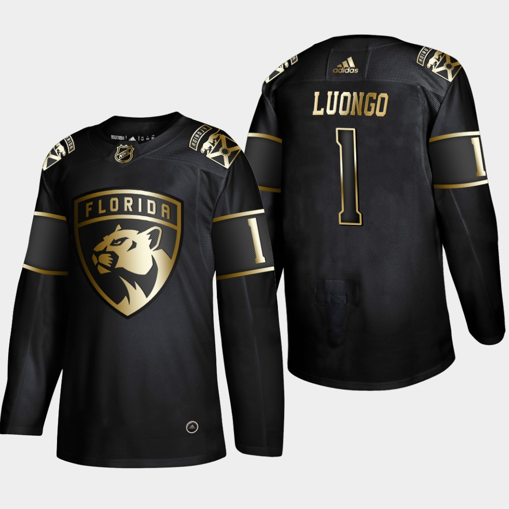 Panthers 1 Roberto Luongo Black Gold Adidas Jersey