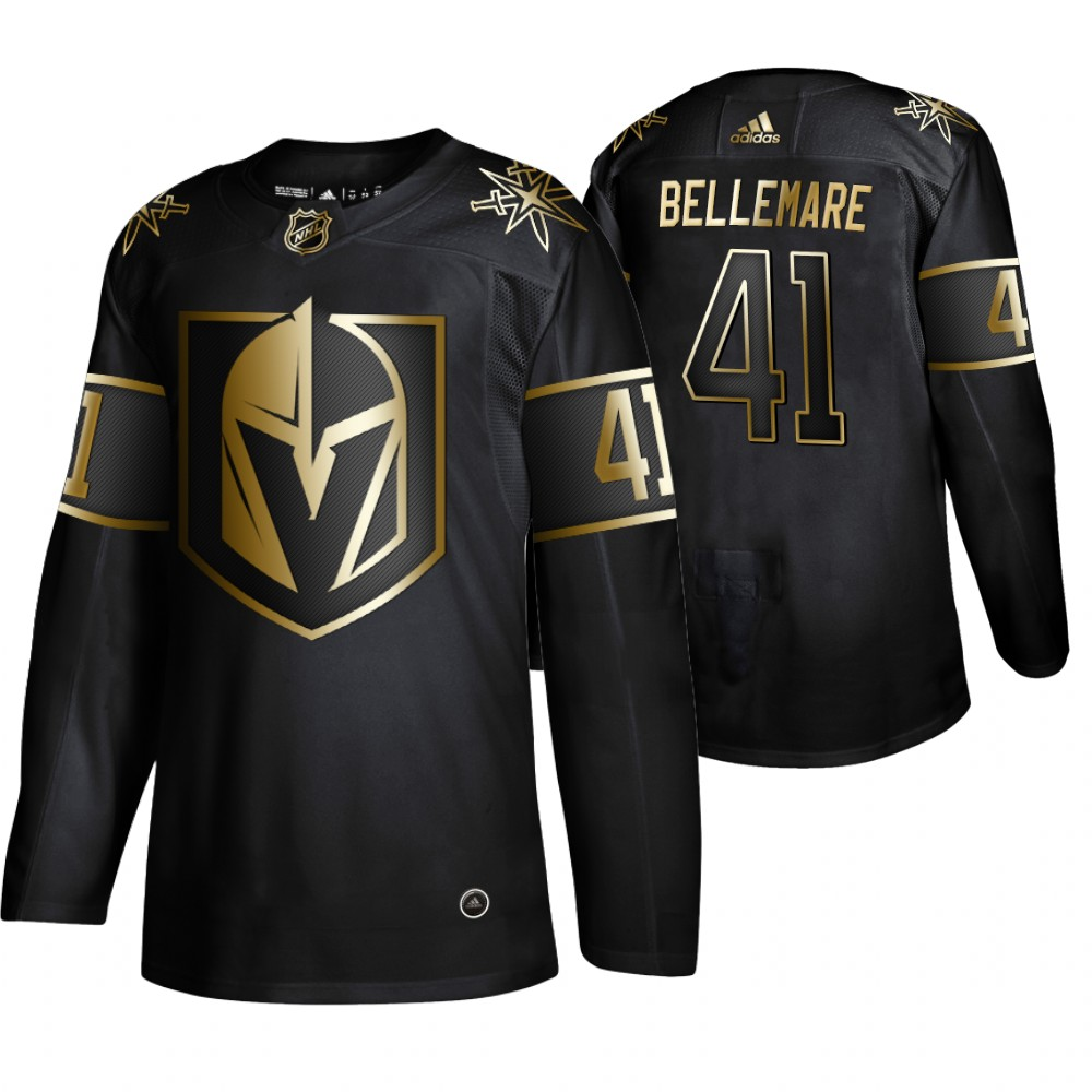 Vegas Golden Knights 41 Pierre Edouard Bellemare Black Gold Adidas Jersey