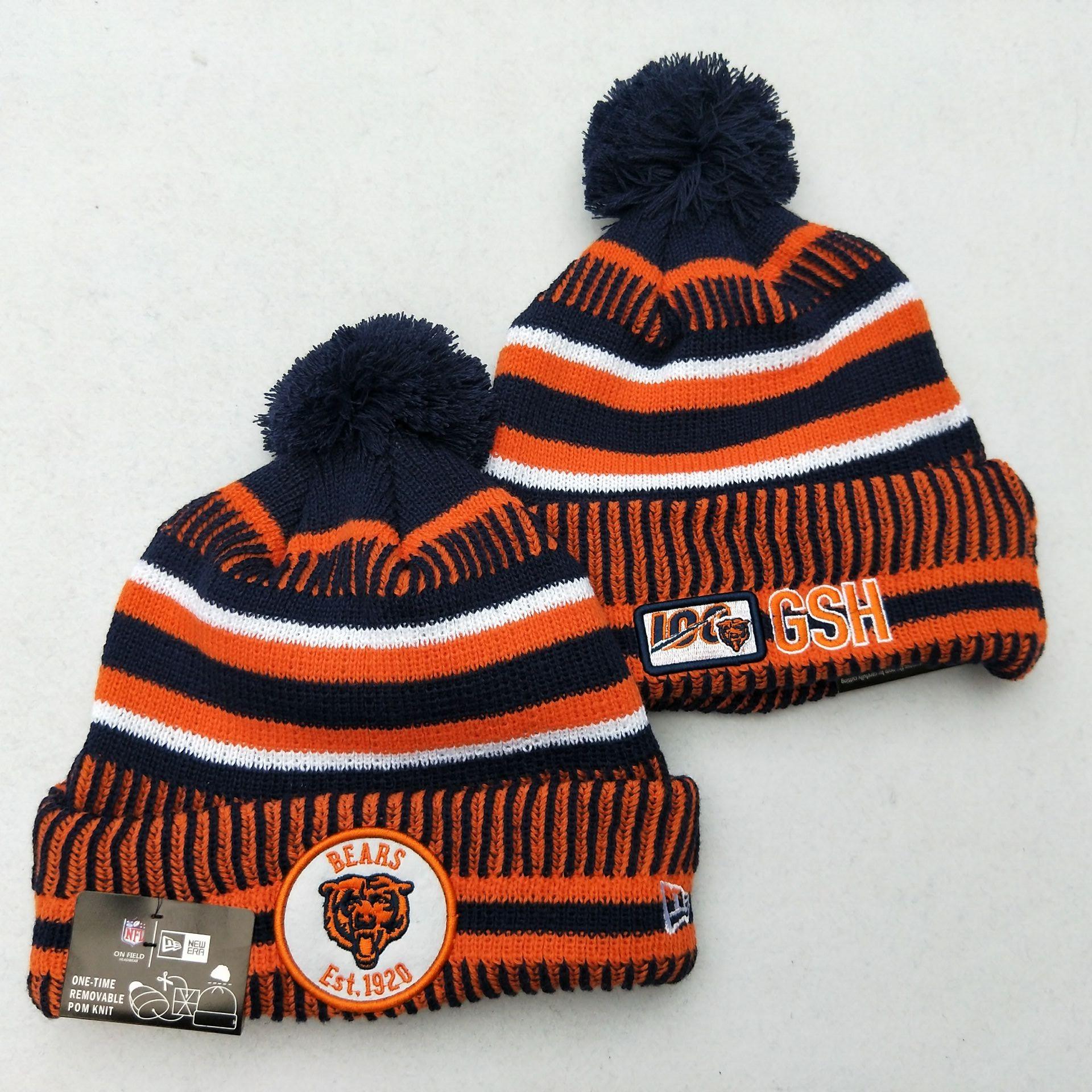Bears Fresh Logo Orange 100th Season Pom Knit Hat YD