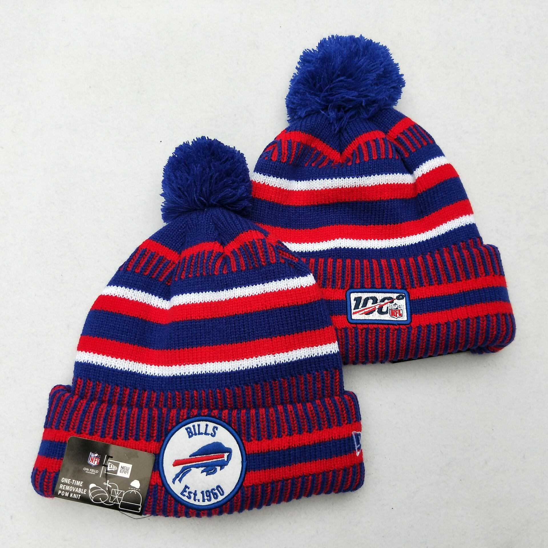 Bills Team Logo Red Royal 100th Season Pom Knit Hat YD