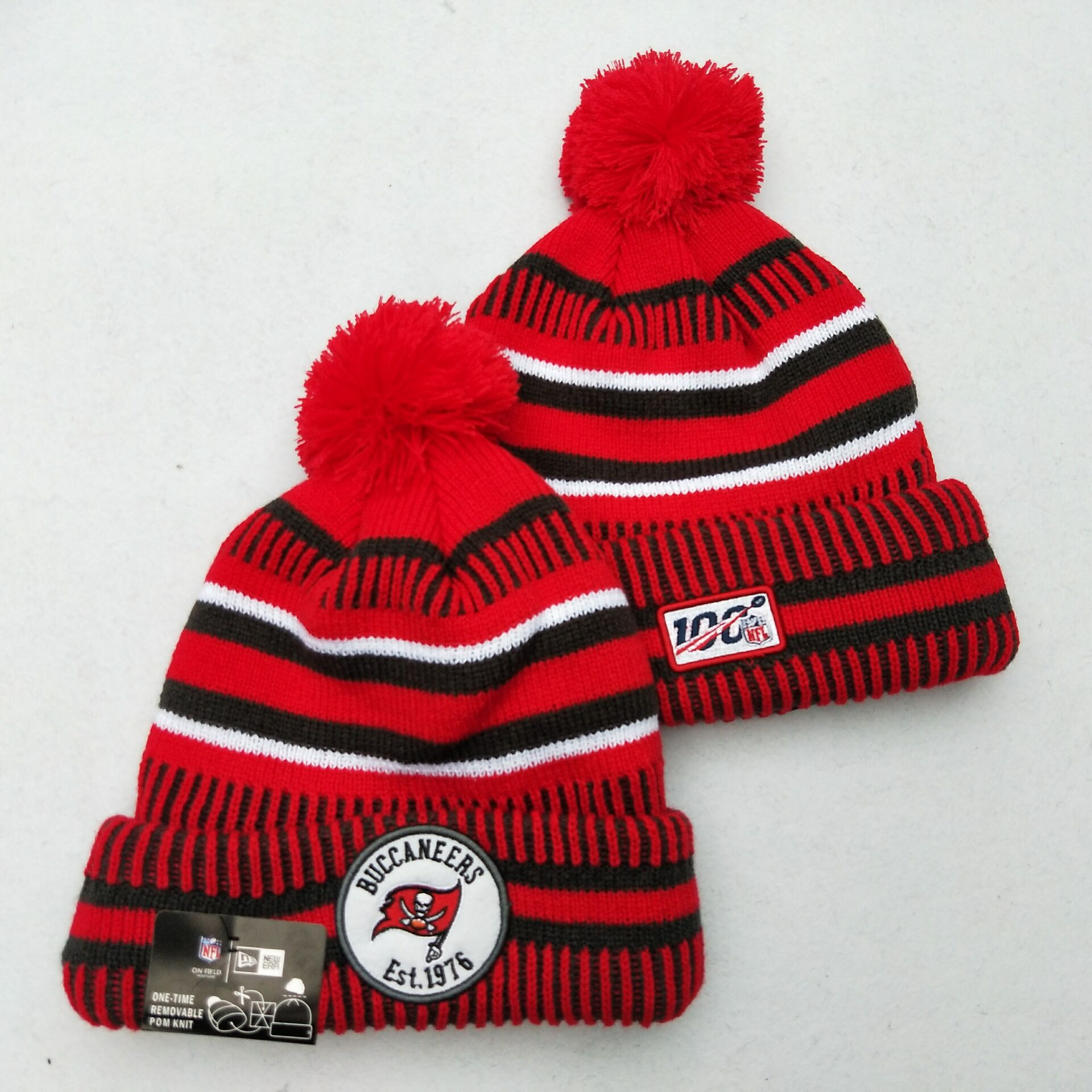 Buccaneers Team Logo Red 100th Season Pom Knit Hat YD