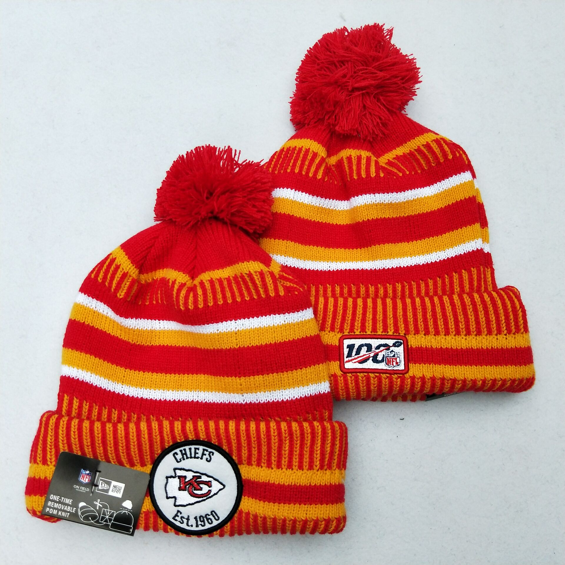Chiefs Team Logo Red 100th Season Pom Knit Hat YD