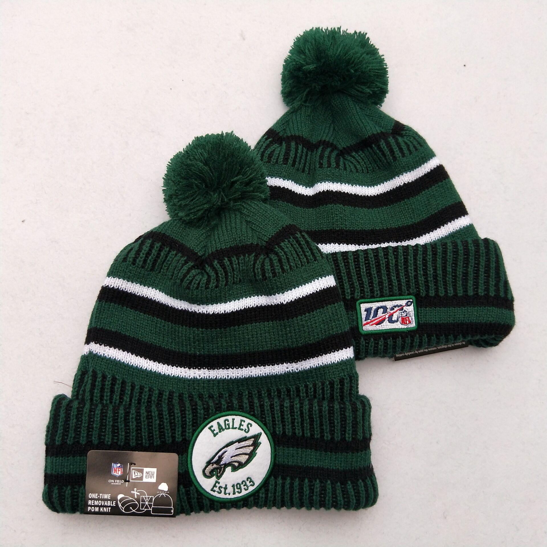 Eagles Team Logo Green 100th Season Pom Knit Hat YD