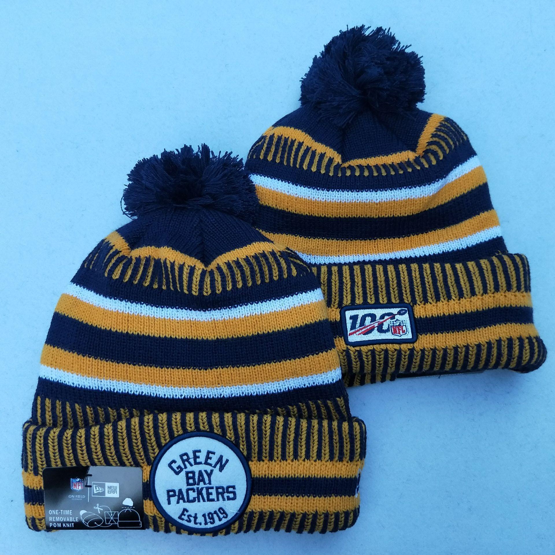 Packers Team Logo Yellow 100th Season Pom Knit Hat YD
