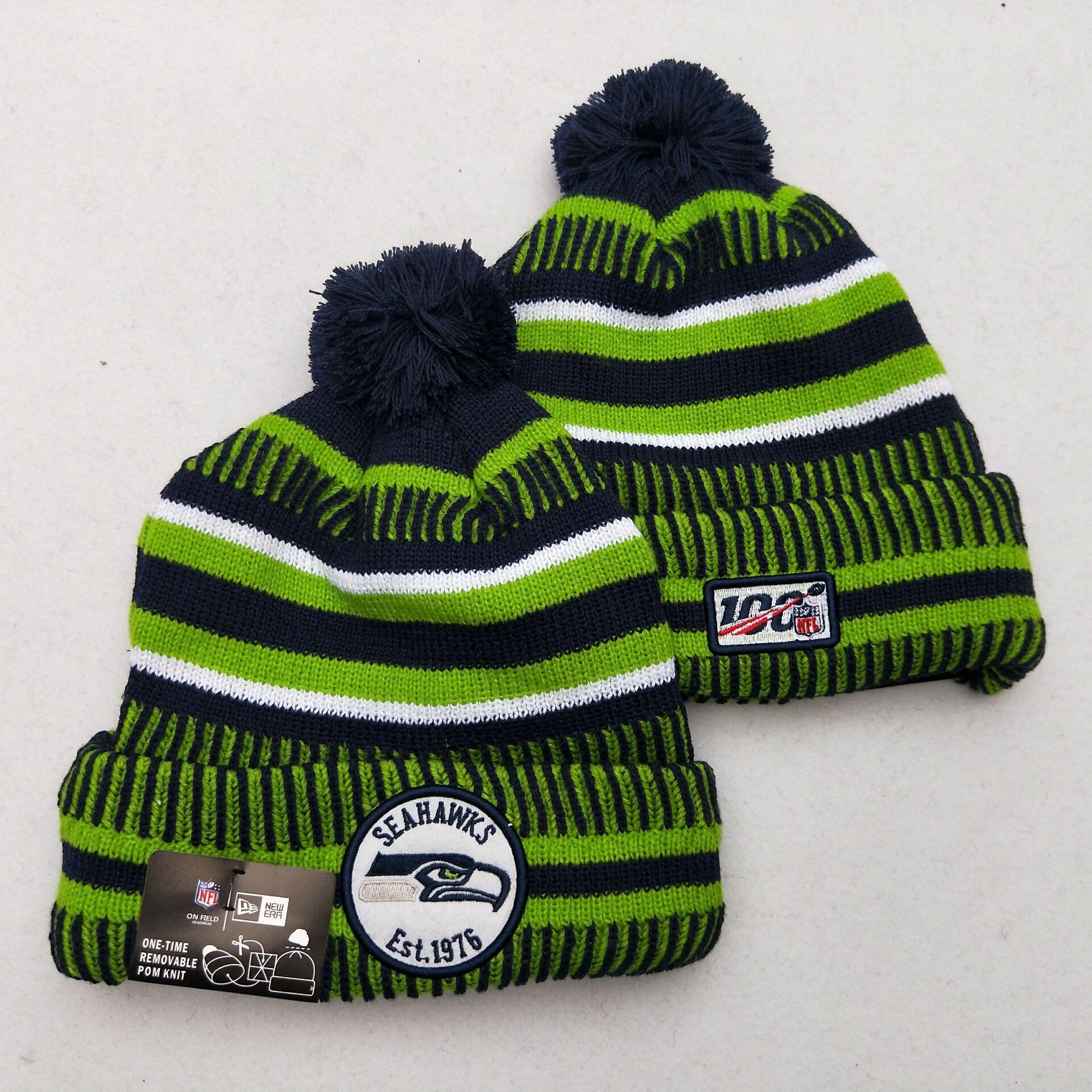 Seahawks Team Logo Green 100th Season Pom Knit Hat YD