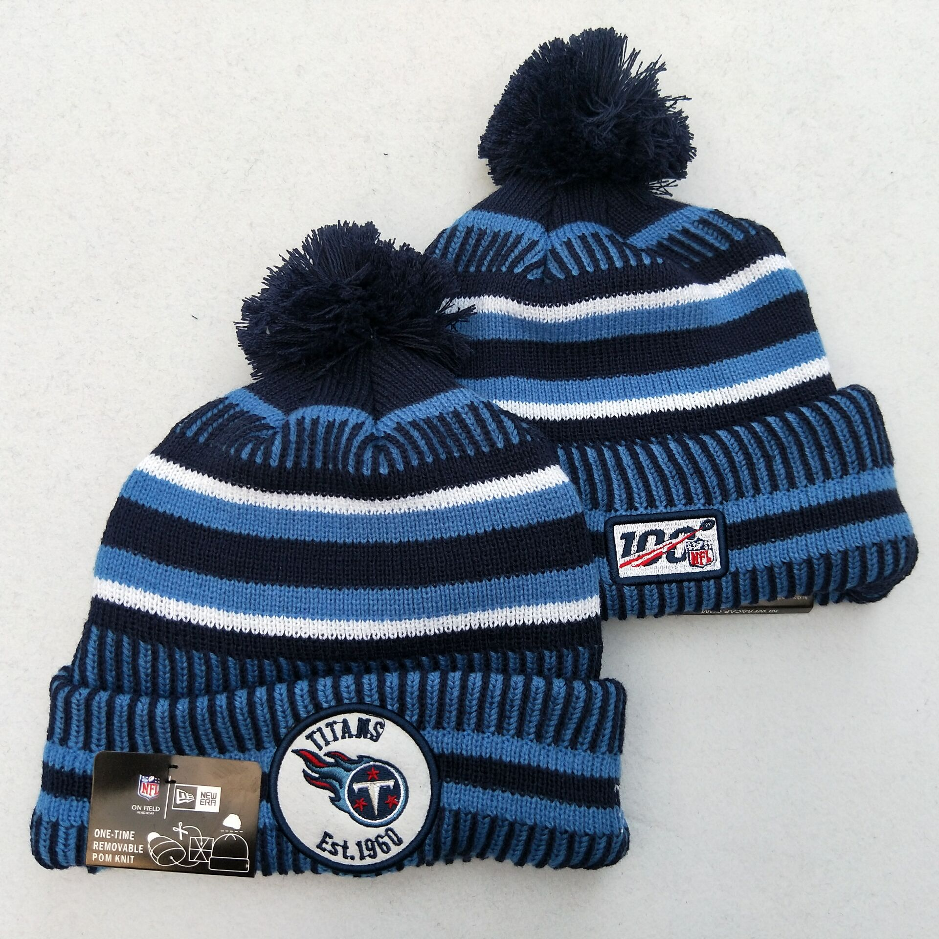 Titans Team Logo Blue 100th Season Pom Knit Hat YD