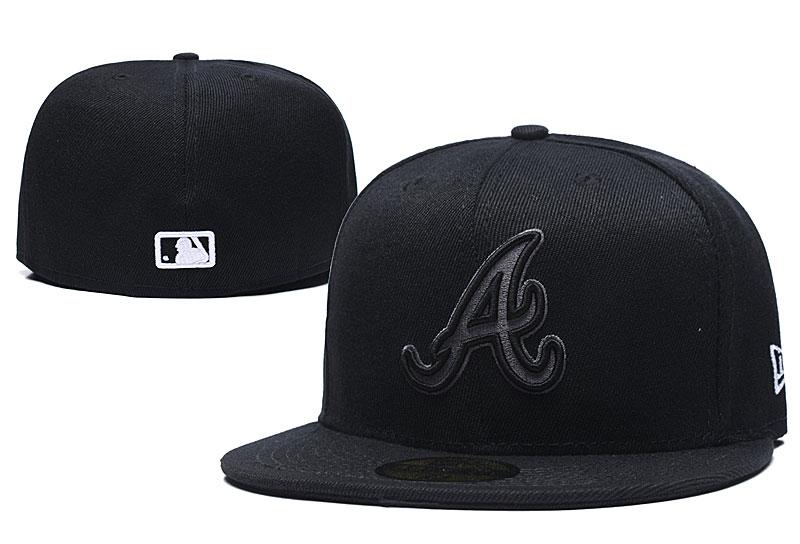 Braves Team Logo Black Fitted Hat LX
