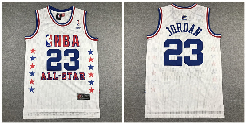 Bulls 23 Michael Jordan White All Star White Mesh Jersey