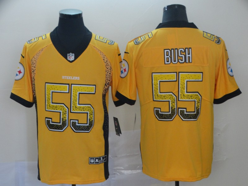 Nike Steelers 55 Devin Bush Yellow Drift Fashion Limited Jersey