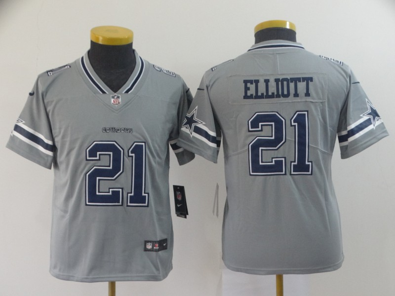 Nike Cowboys 21 Ezekiel Elliott Gray Youth Inverted Legend Limited Jersey