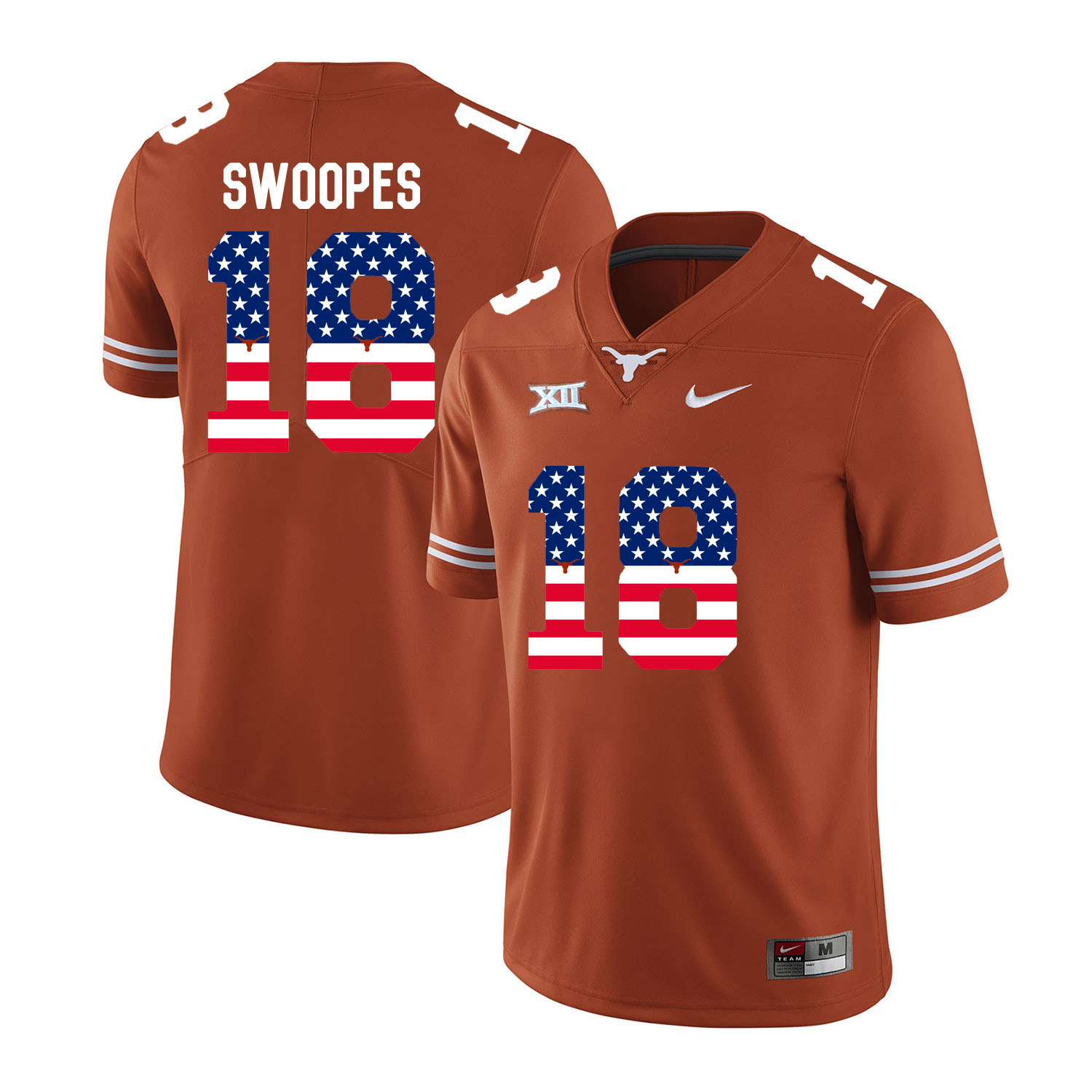 Texas Longhorns 18 Tyrone Swoopes Orange USA Flag Nike College Football Jersey