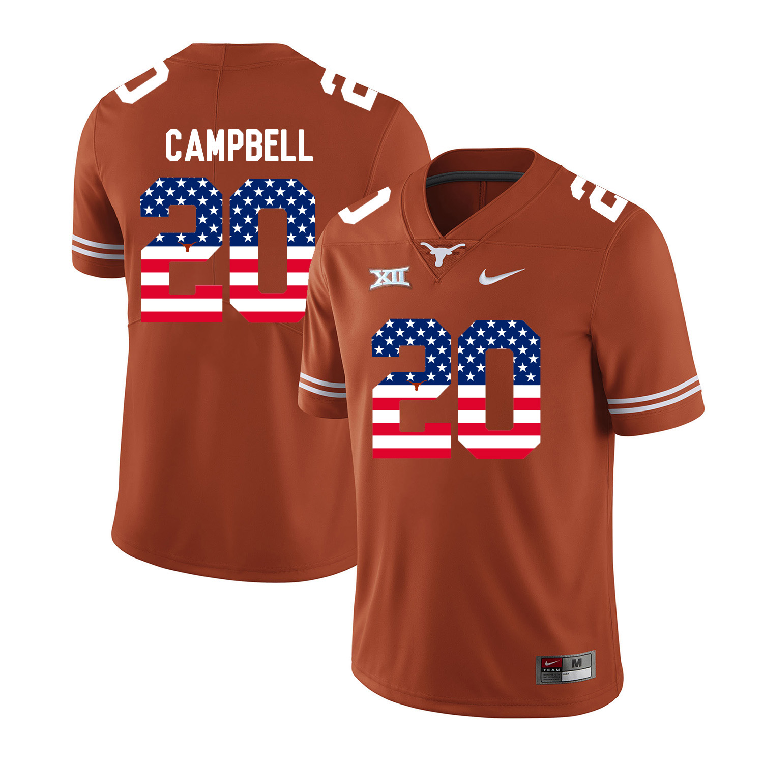Texas Longhorns 20 Earl Campbell Orange USA Flag Nike College Football Jersey
