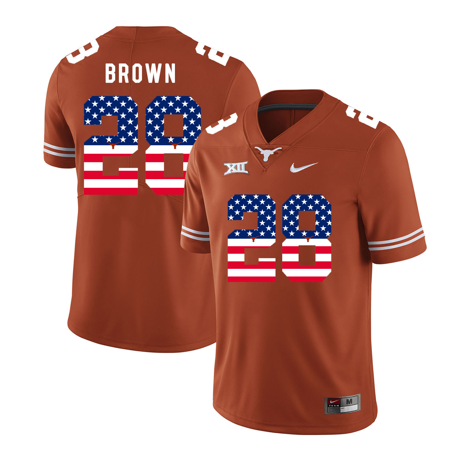 Texas Longhorns 28 Malcolm Brown Orange USA Flag Nike College Football Jersey