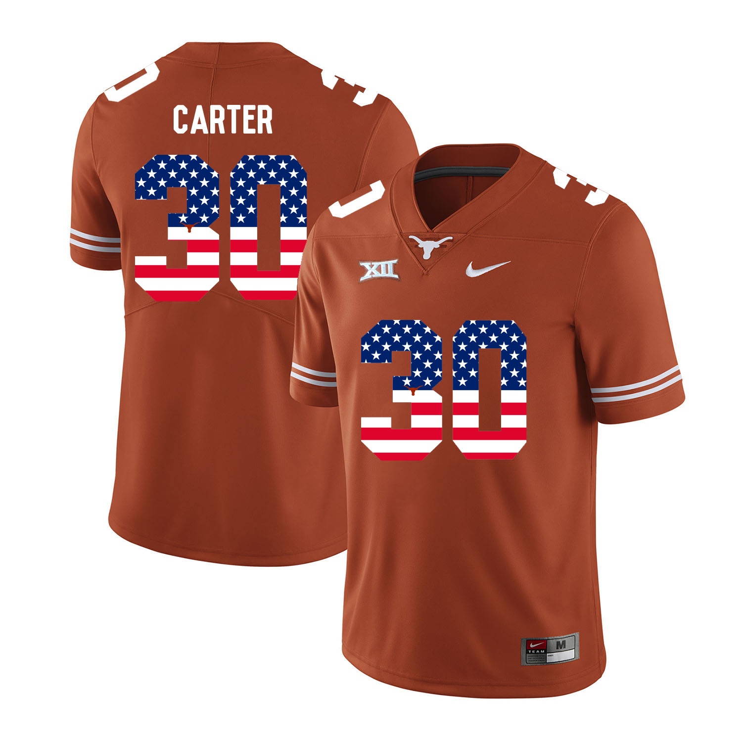 Texas Longhorns 30 Toneil Carter Orange USA Flag Nike College Football Jersey