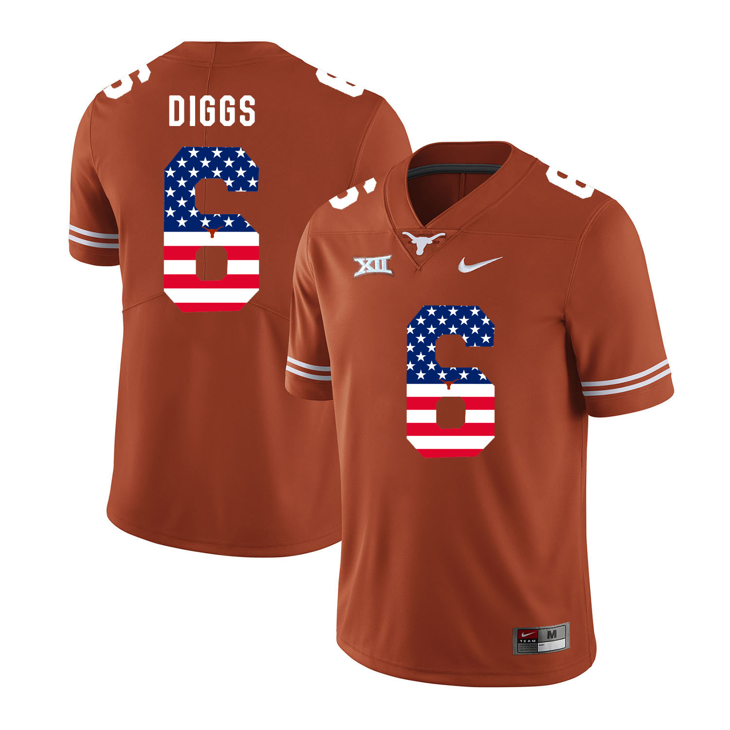 Texas Longhorns 6 Quandre Diggs Orange USA Flag Nike College Football Jersey