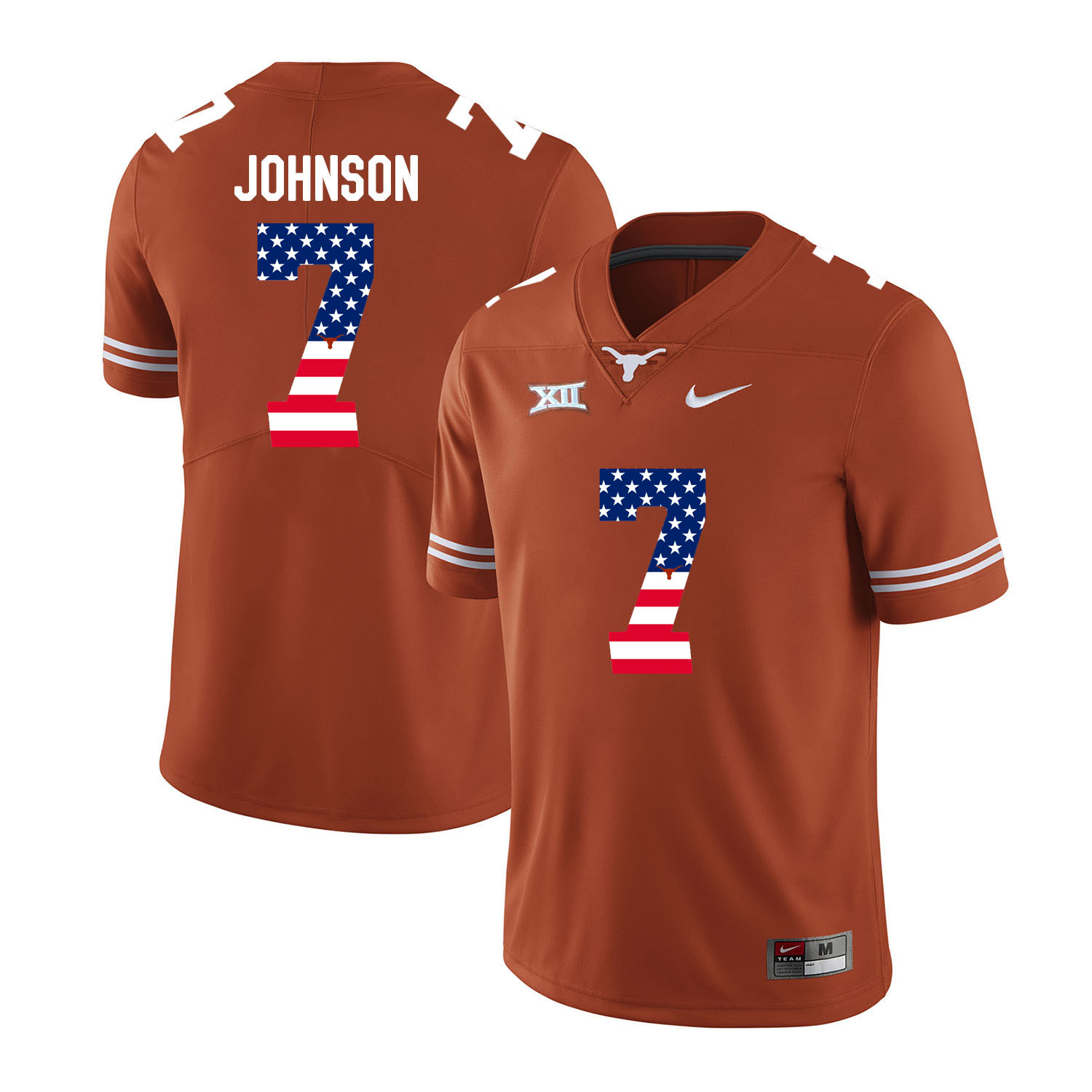 Texas Longhorns 7 Marcus Johnson Orange USA Flag Nike College Football Jersey