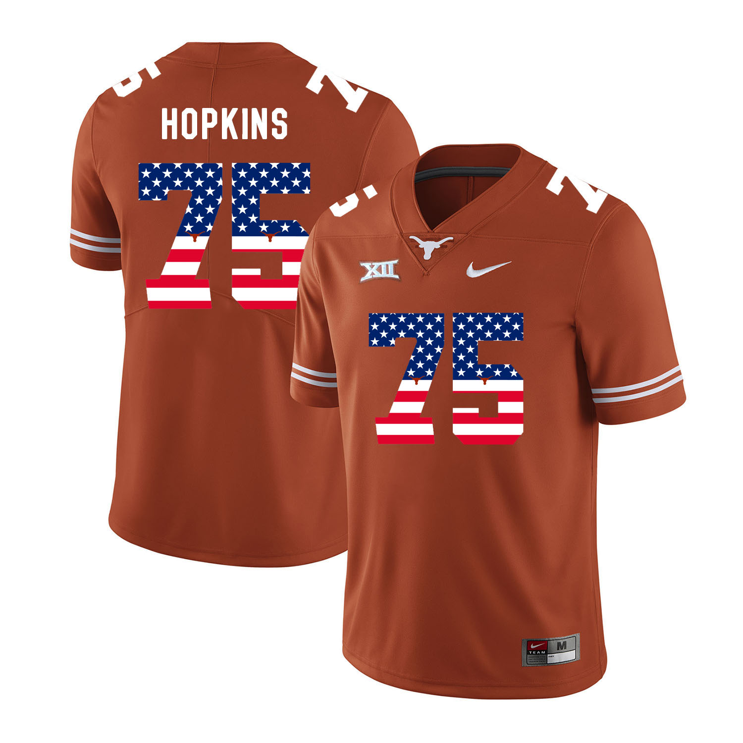 Texas Longhorns 75 Trey Hopkins Orange USA Flag Nike College Football Jersey