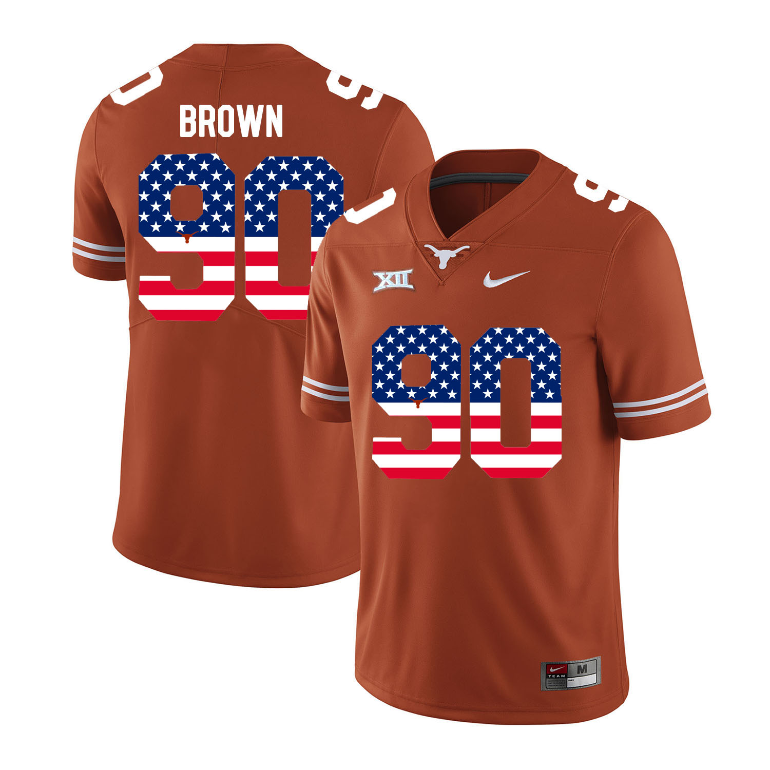 Texas Longhorns 90 Malcom Brown Orange USA Flag Nike College Football Jersey