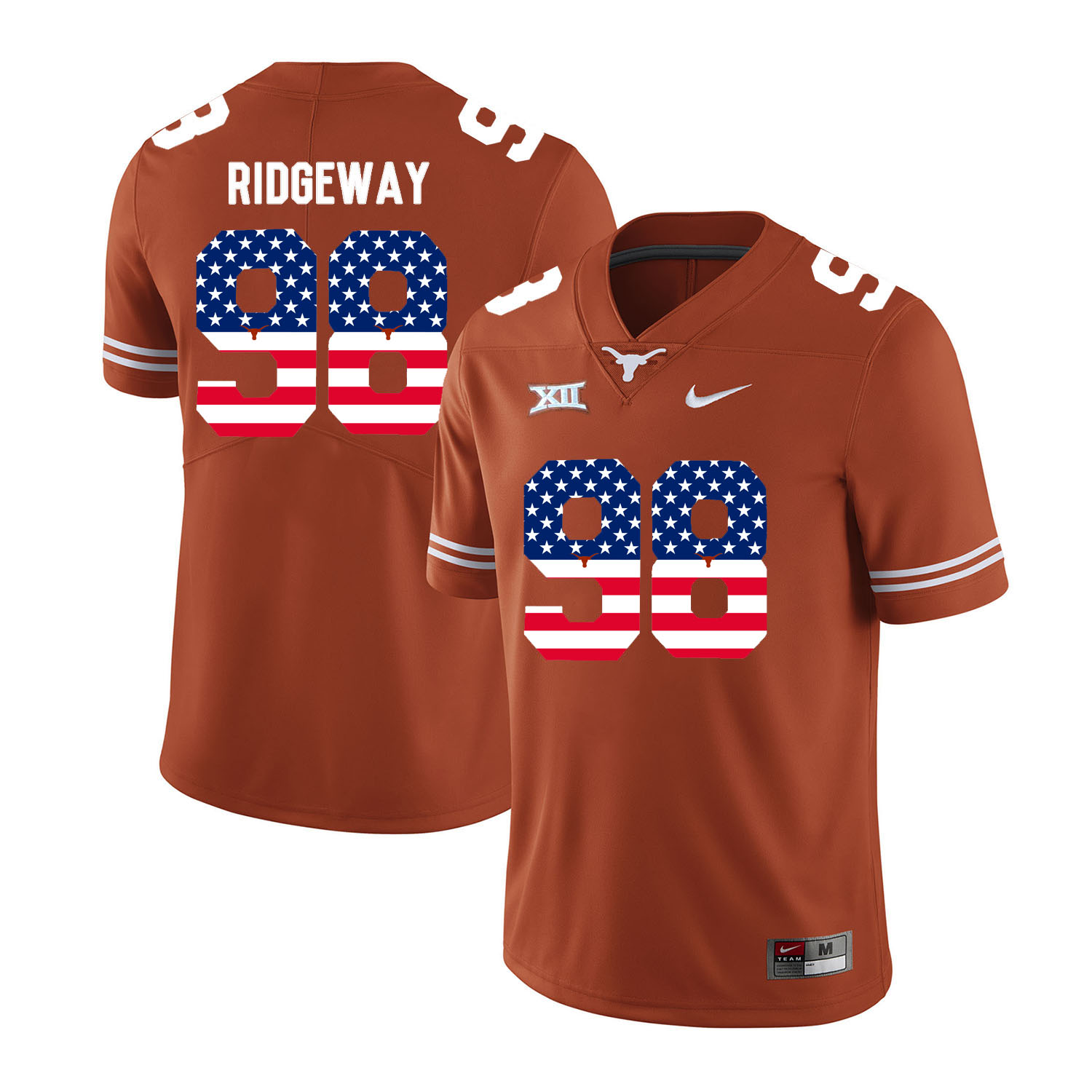 Texas Longhorns 98 Hassan Ridgeway Orange USA Flag Nike College Football Jersey