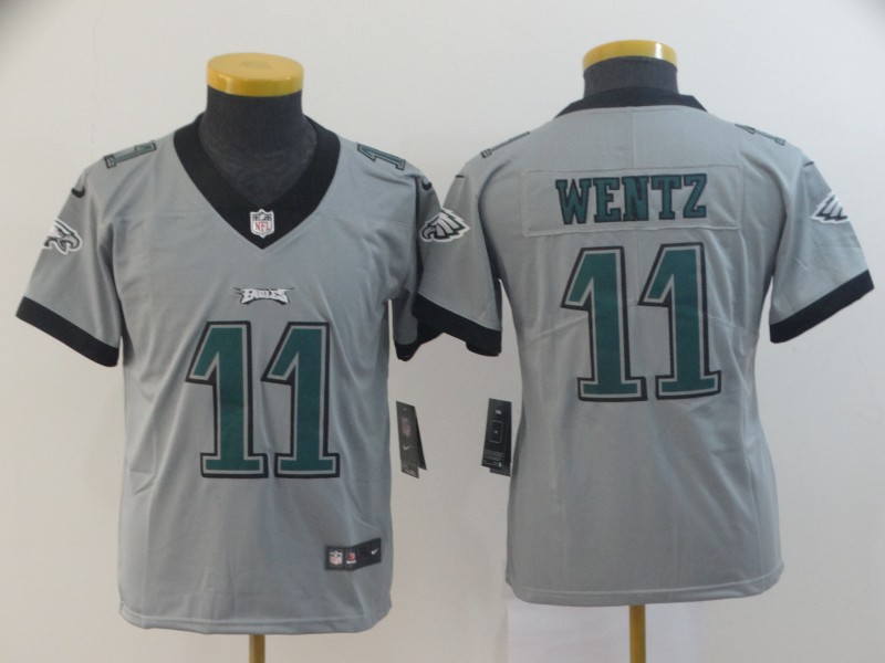 Nike Eagles 11 Carson Wentz Silver Youth Inverted Legend Limited Jersey