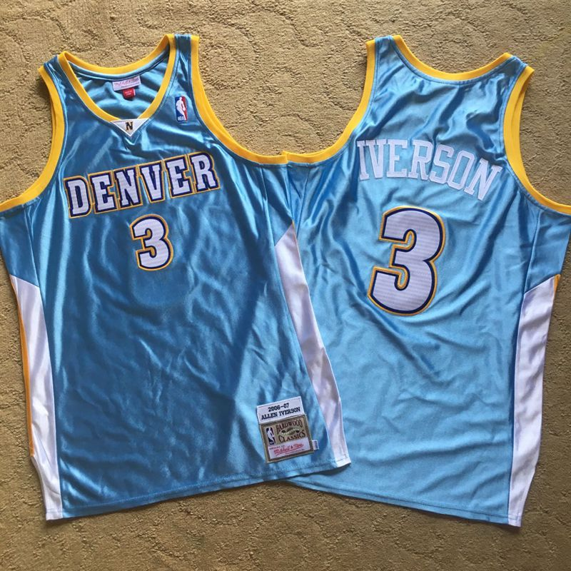 Nuggets 3 Allen Iverson Light Blue 2006-07 Hardwood Classics Swingman Jersey
