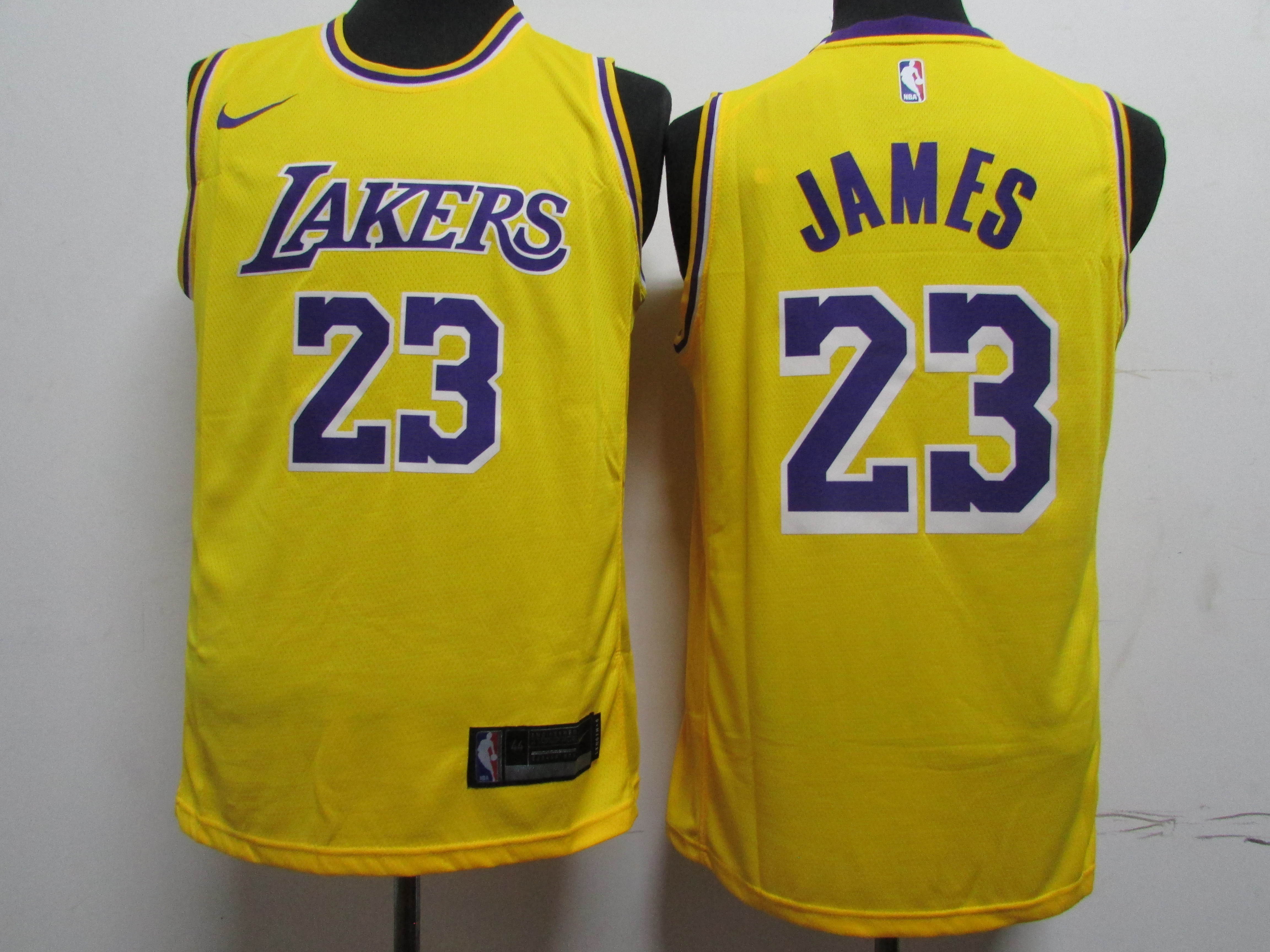 Lakers 23 Lebron James Yellow Printed Nike Swingman Jersey