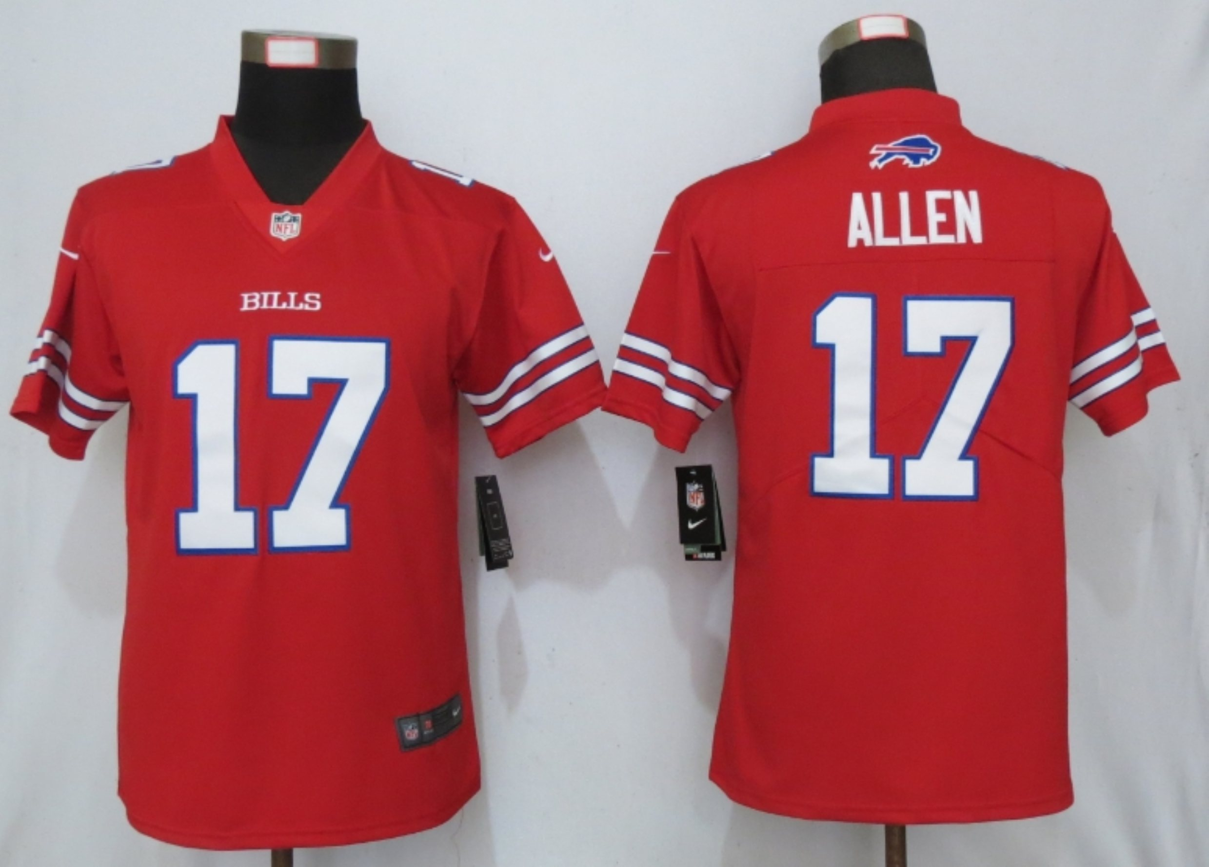 Nike Bills 17 Josh Allen Red Women Color Rush Limited Jersey