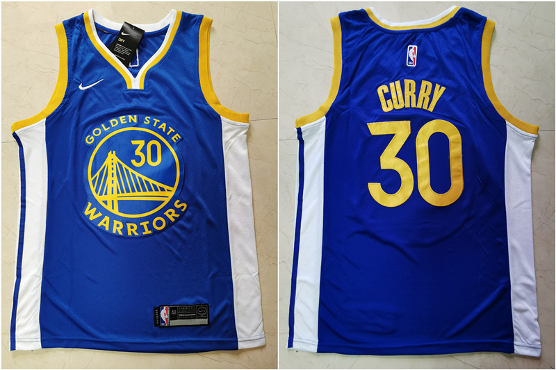 Warriors 30 Stephen Curry Blue Nike Swingman Jersey