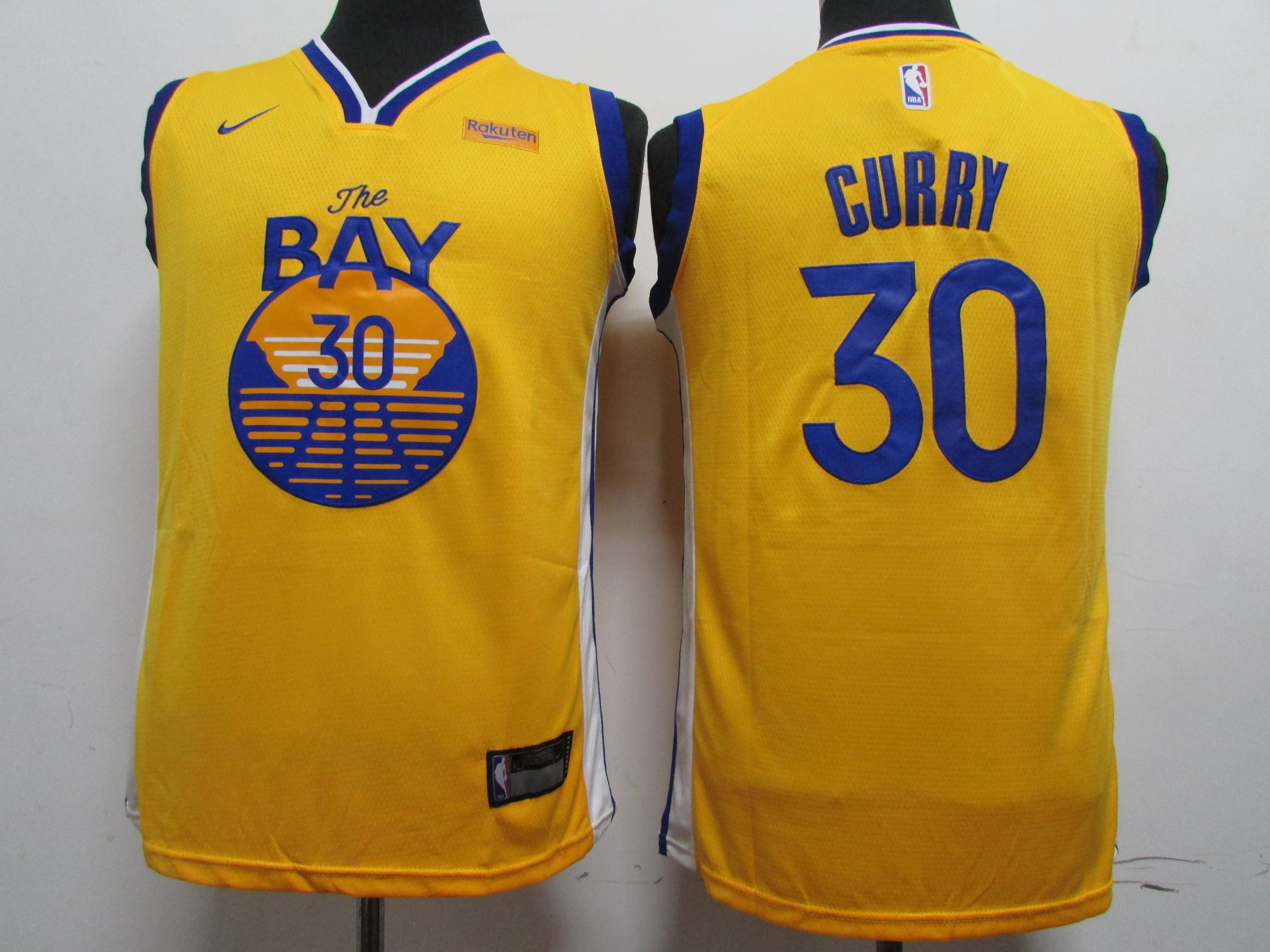 Warriors 30 Stephen Curry Yellow Youth 2020 New Nike Swingman Jersey