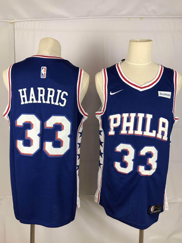 76ers 33 Tobias Harris Blue Nike Throwback Swingman Jersey