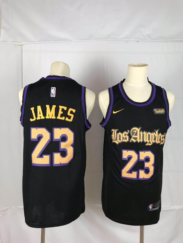 Lakers 23 Lebron James Black Nike Swingman Jersey