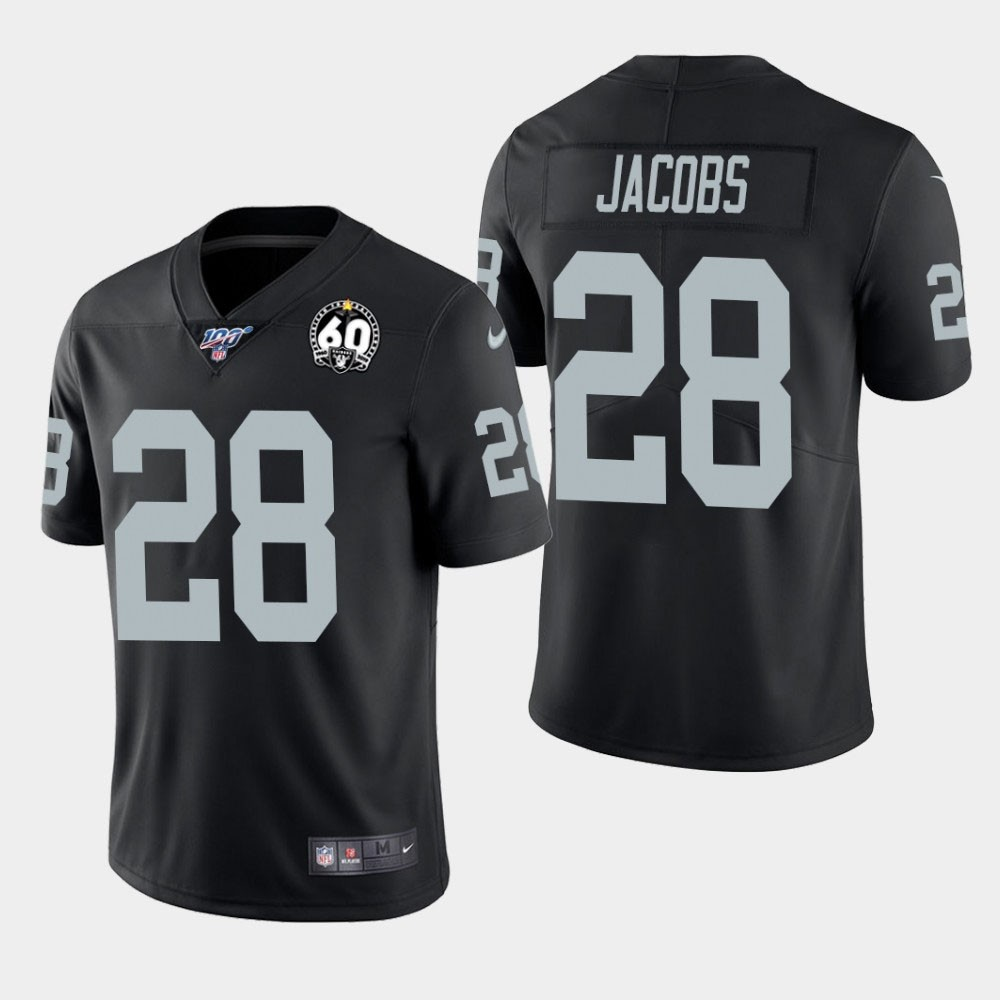 Nike Raiders 28 Josh Jacobs Black 100th And 60th Anniversary Vapor Untouchable Limited Jersey