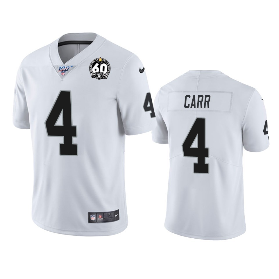 Nike Raiders 4 Derek Carr White 100th And 60th Anniversary Vapor Untouchable Limited Jersey