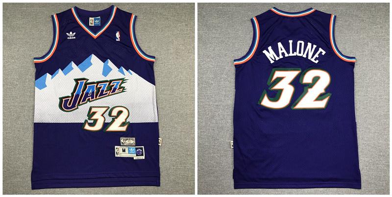 Jazz 32 Karl Malone Purple Hardwood Classics Jersey