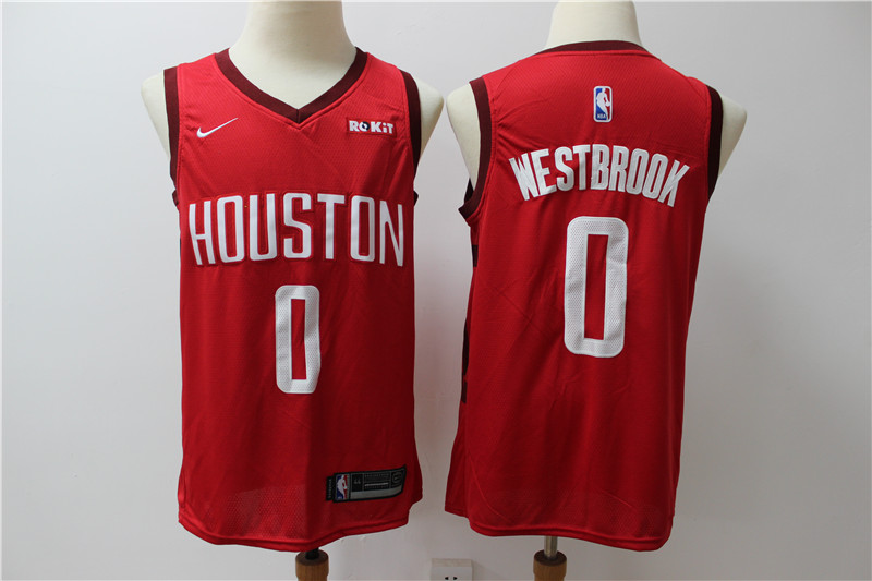 Rockets 0 Russell Westbrook Red Nike Earned Edition Swingman Jersey