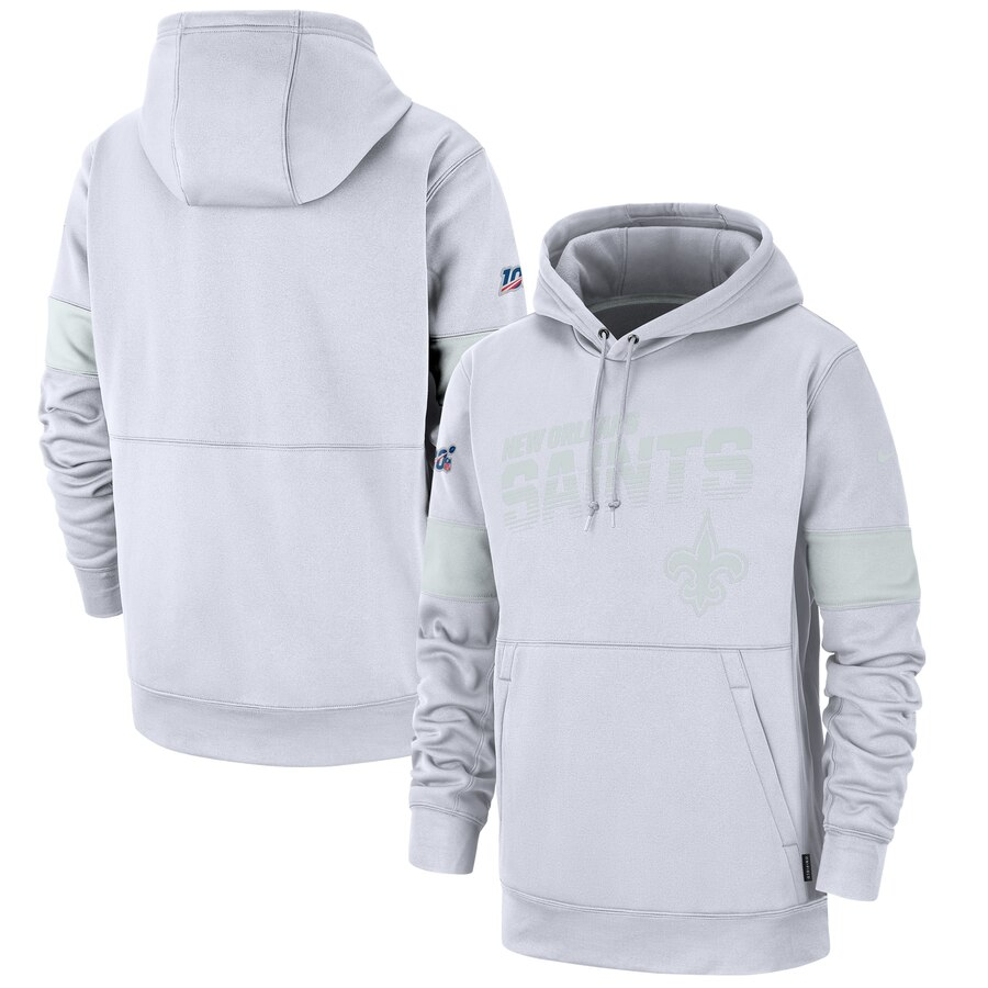 New Orleans Saints Nike NFL 100 2019 Sideline Platinum Therma Pullover Hoodie White