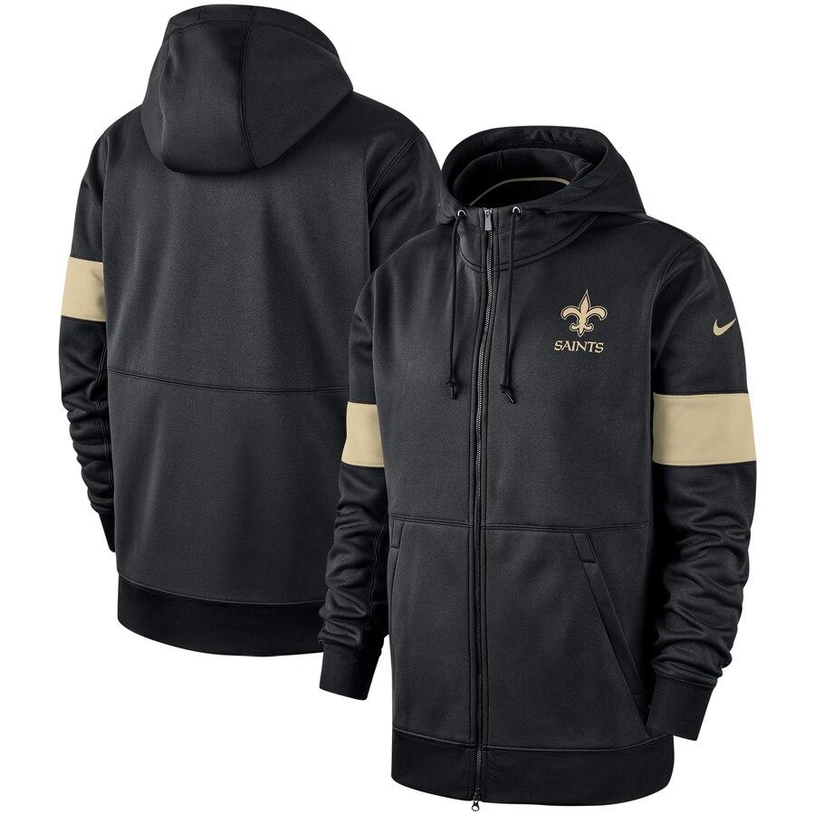 New Orleans Saints Nike Sideline Performance Full Zip Hoodie Black