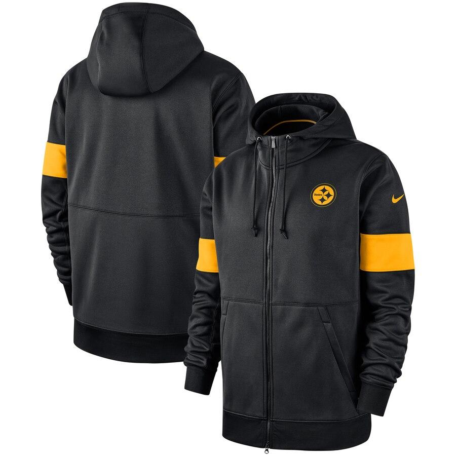 Pittsburgh Steelers Nike Sideline Performance Full Zip Hoodie Black